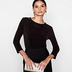 Star by Julien Macdonald - Black 3/4 sleeves zip detail ruched top