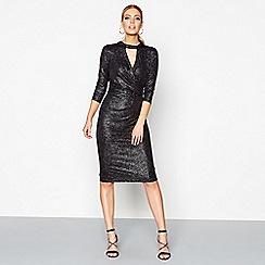 Star by Julien Macdonald - Black glitter v-neck knee length wrap dress