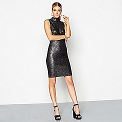 Star by Julien Macdonald - Black glittery high neck knee length bodycon dress