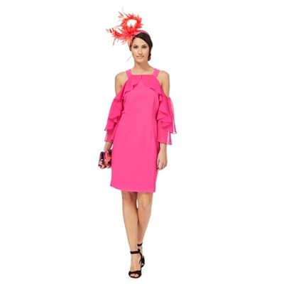 Star By Julien Macdonald   Pink Cold Shoulder Ruffle Detail Dress by Star By Julien Macdonald