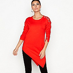 Star by Julien Macdonald - Red eyelet asymmetric jumper