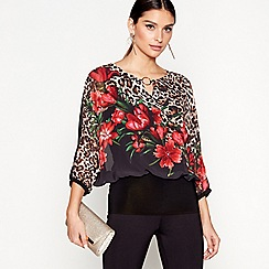 Star by Julien Macdonald - Multi short sleeves floral animal print top