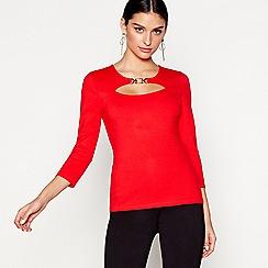 Star by Julien Macdonald - Red long sleeves ponte peekaboo top