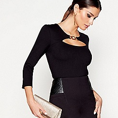 Star by Julien Macdonald - Black long sleeves ponte peekaboo top