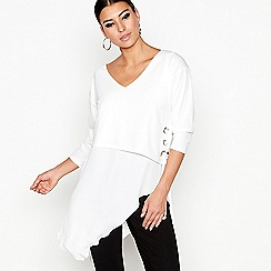 Star by Julien Macdonald - Ivory eyelet asymmetric top