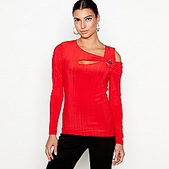 Star by Julien Macdonald - Red jersey cold shoulder top