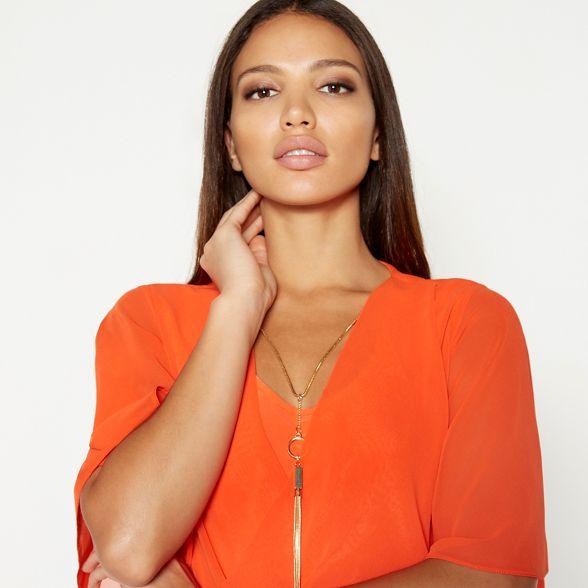 short Orange chiffon by Macdonald wrap sleeve necklace Julien detail top Star twH70qt