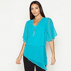 Star by Julien Macdonald - Turquoise necklace detail chiffon short sleeve wrap top