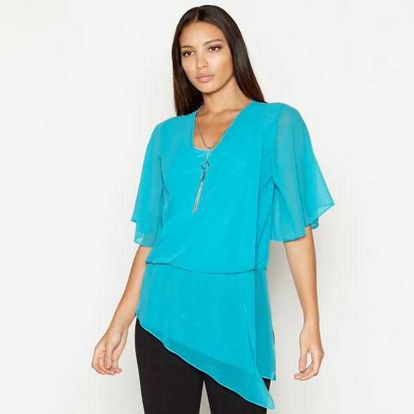Star chiffon necklace Turquoise wrap short by Julien detail Macdonald sleeve top rwxYqRrI