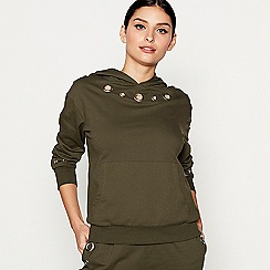 Star by Julien Macdonald - Khaki cotton eyelet hooded sweatshirt