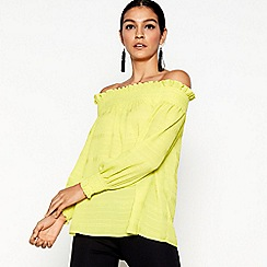 Star by Julien Macdonald - Bright yellow long sleeve smock bardot top