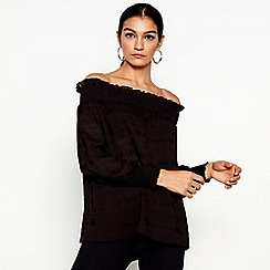 Star by Julien Macdonald - Black long sleeves smock bardot top