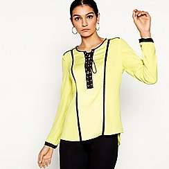 Star by Julien Macdonald - Bright yellow long sleeve eyelet top