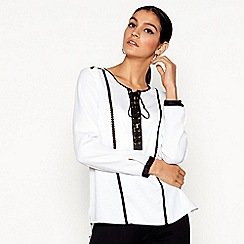 Star by Julien Macdonald - White long sleeve eyelet top