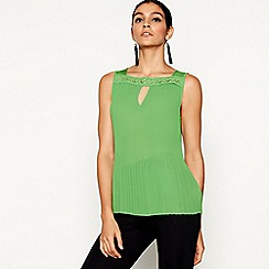 Star by Julien Macdonald - Green pleated eyelet top