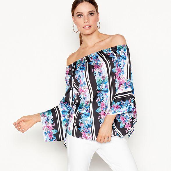neck floral Star Bright top pink Julien stripe long Macdonald print Bardot sleeve by rXwXqBn4xz