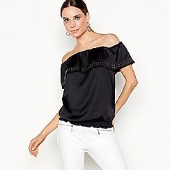 Star by Julien Macdonald - Black eyelet Bardot neck top