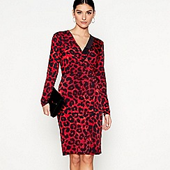 Star by Julien Macdonald - Red leopard print knee length wrap dress