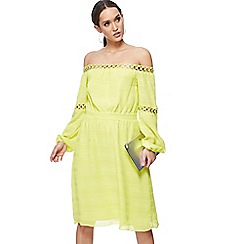 Star by Julien Macdonald - Bright yellow Bardot neck long sleeve midi dress