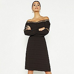 Star by Julien Macdonald - Black eyelet textured bardot dress
