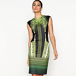 Star by Julien Macdonald - Green printed scuba knee length bodycon dress