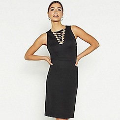 Star by Julien Macdonald - Black mesh V-neck bodycon dress