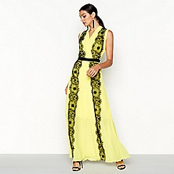 Star by Julien Macdonald - Yellow lace V-neck maxi dress
