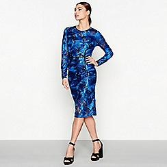 Star by Julien Macdonald - Blue embroidered palm long sleeve knee length pencil dress