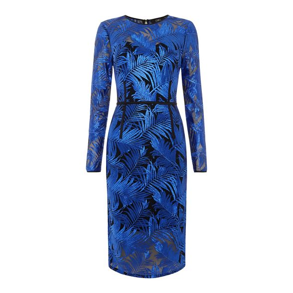 length long Macdonald by knee pencil dress palm Star embroidered sleeve Julien Blue 7gBE1zO