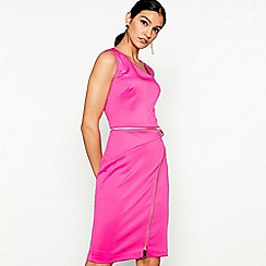Star by Julien Macdonald - Pink scuba asymmetric neck knee length bodycon dress