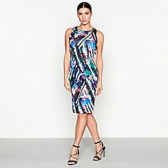 Star by Julien Macdonald - Multi floral stripe print sleeveless knee length pencil dress