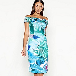 Star by Julien Macdonald - Turquoise floral print scuba Bardot neck knee length bodycon dress