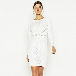 Star by Julien Macdonald - Ivory mesh lace high neck long sleeve bodycon dress