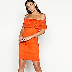 Star by Julien Macdonald - Orange lace Bardot neck mini dress