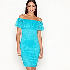 Star by Julien Macdonald - Turquoise lace Bardot neck mini dress