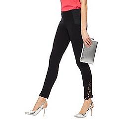 Star by Julien Macdonald - Black lace hem regular fit leggings