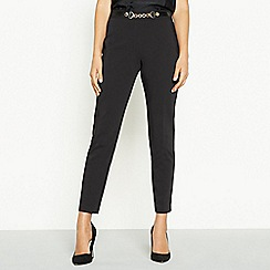 Star by Julien Macdonald - Black cotton sateen gold chain smart trousers