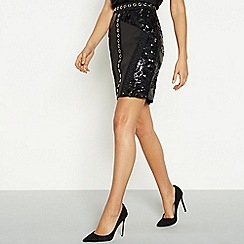 Star by Julien Macdonald - Black sequin eyelet mini skirt