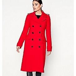Star by Julien Macdonald - Red crepe double breasted coat