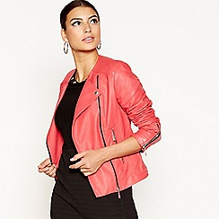 Star by Julien Macdonald - Pink collarless faux leather jacket