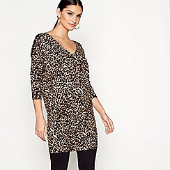 Star by Julien Macdonald - Tan long sleeves leopard knit tunic top