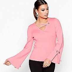 Star by Julien Macdonald - Pink cross neck split sleeves jumper