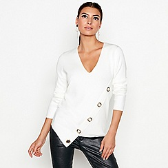 Star by Julien Macdonald - Ivory asymmetric eyelet jumper