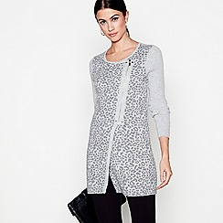 Star by Julien Macdonald - Grey double faced animal biker cardigan