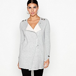 Star by Julien Macdonald - Grey double faced biker cardigan