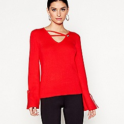 Star by Julien Macdonald - Red cross strap neck jumper