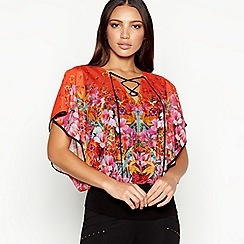Star by Julien Macdonald - Orange floral print lace up chiffon top