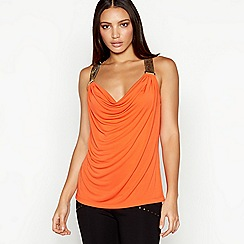Star by Julien Macdonald - Orange chainmail cowl neck sleeveless top