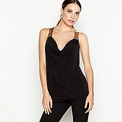 Star by Julien Macdonald - Black chainmail cowl neck sleeveless top