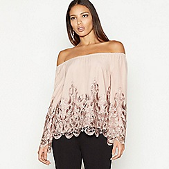 Star by Julien Macdonald - Pale pink lace mesh Bardot neck long sleeve top